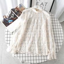 春装2br20式女士df蕾丝内搭刺绣大码打底衫洋气(小)衫网纱上衣女