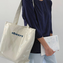 帆布单brins风韩nd透明PVC防水大容量学生上课简约潮女士包袋