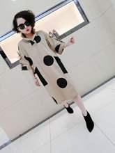 欧洲站br021春季ro尚百搭宽松连衣裙大圆点修身显瘦打底衫女士