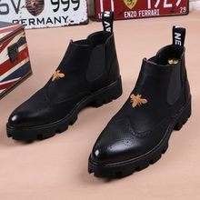 冬季男br皮靴子尖头an加绒英伦短靴厚底增高发型师高帮皮鞋潮