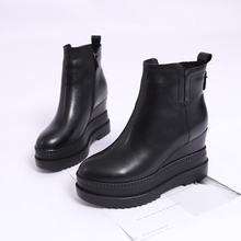欧洲站br020秋冬ga短靴真皮内增高女鞋拉链厚底坡跟宽口靴子女