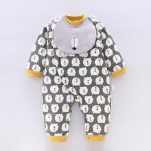 初生婴br棉衣服秋冬ng加厚0-1岁新生儿保暖哈衣爬服加厚棉袄