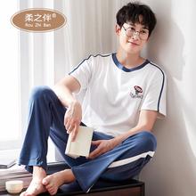 男士睡br短袖长裤纯ng服夏季全棉薄式男式居家服夏天休闲套装