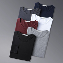 莫代尔br袖t恤男圆ng季加绒加厚保暖内搭打底衫纯色黑色秋衣