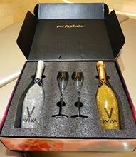 摆件装br品装饰美式ke欧高档酒瓶红酒架摆件镶钻香槟酒