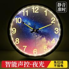 智能夜br声控挂钟客qc卧室强夜光数字时钟静音金属墙钟14英寸