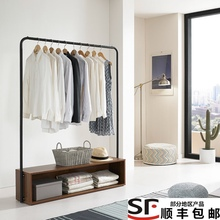 卧室晾bs架落地简易lj挂衣服的架子简约木制收纳置物架