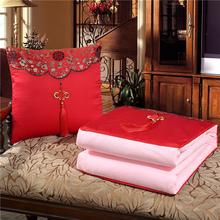 中国结刺bu1绸缎多功ew两用靠垫被枕头被午休空调被定制logo