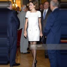 欧洲站bu021年夏ew王妃同式高端职业女装新式时尚白色连衣裙潮