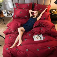 北欧全棉四件bu3网红款刺ll棉床单床笠大红色结婚庆床上用品
