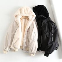 西班牙bu 秋冬式女ll穿毛绒飞行夹克外套 宽松连帽面包服棉服