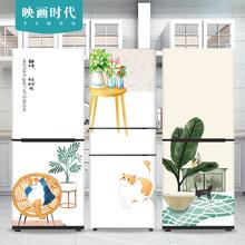 绿植猫咪休闲冰箱贴膜贴纸定制防bu12可移除ll柜整张贴画