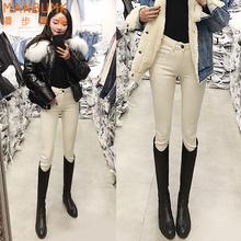 米白色bu腰加绒牛仔fa020新式秋冬显高显瘦百搭(小)脚铅笔靴裤子