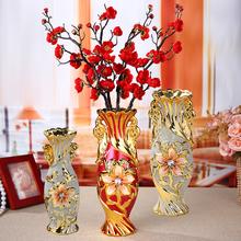欧式陶bu花瓶摆件 fa插花 干花装饰酒柜工艺品喜庆礼物电视柜