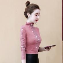 女士打bu衫长袖20fa式潮洋气(小)衫网红上衣韩款气质高领T恤秋装