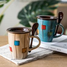 杯子情bu 一对 创ld杯情侣套装 日式复古陶瓷咖啡杯有盖