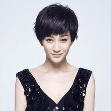 李(小)冉bu的发假发帅ld短发bobo头蓬松逼真时尚妈妈中老年发套