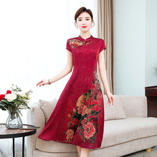 中国风bu花改良旗袍ld裙女夏装新式妈妈复古高贵气质真丝礼服