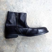物哀 bu谷日式原宿ld有范微翘圆头靴拉链 中筒树膏牛皮靴 软皮