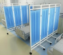 客厅隔bu屏风带滑轮ld诊疗床隔墙医院用活动遮帘分隔换衣拉。