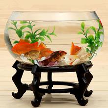 圆形透bu生态创意鱼ld桌面加厚玻璃鼓缸金鱼缸 包邮