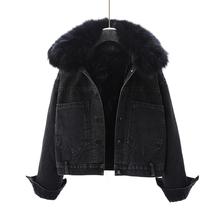 女短式bu020新式ls款真毛领加绒加厚宽松棉衣外套黑色