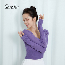 Sanbuha 法国ls蹈练功服女冬保暖毛衣芭蕾拉丁体操短式针织衫