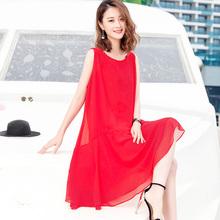 大码无袖背心裙2021新款女装红色bu14衣裙海gp雪纺沙滩裙夏
