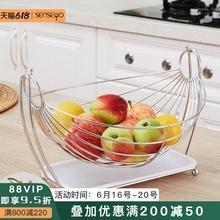创意水果盘客bu3果篮家用un收纳篮茶几不锈钢果盘子现代简约