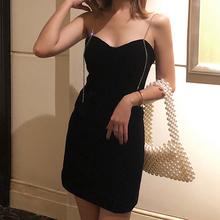 春夏打bu内搭裙子2ni新式钻吊带裙(小)黑裙赫本风年会裙