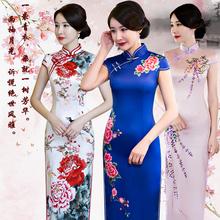 中国风bu舞台走秀演an020年新式秋冬高端蓝色长式优雅改良