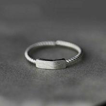 (小)张的bu事复古设计xi5纯银一字开口女生指环时尚麻花食指戒