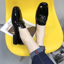 软皮女bu2020春ol韩款百搭网红平底(小)皮鞋漆皮方头乐福鞋单鞋