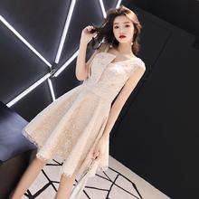 香槟色bu式(小)个子平fi气质洋装学生宴会晚礼服连衣裙女
