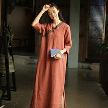 女唐装bu良汉服复古fi长裙中国风夏装禅意茶服中式亚麻连衣裙