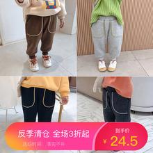 ababu裤子宽松儿fi加厚休闲裤(小)女孩纯棉收脚口长裤潮