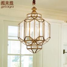 美式阳bu灯户外防水th厅灯 欧式走廊楼梯长吊灯 复古全铜灯具