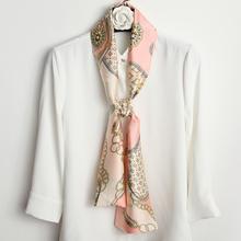 (小)丝巾bu秋搭配衣服ho的窄长条女装饰配衬衫丝带脖子配饰