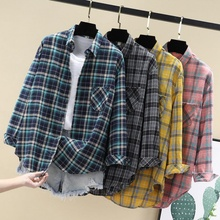 16春bw装韩款20la式女士百搭格子条纹衬衣女宽松时尚外套衬衫女