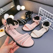 女童凉bw夏季202la时尚宝宝罗马鞋软底(小)学生公主鞋女孩沙滩鞋