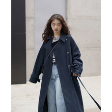 欧阳喜bw长式风衣女fu新式韩款宽松过膝大衣开衫翻领气质外套