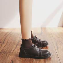 伯爵猫bw皮鞋女英伦fw搭日系软妹复古学院风圆头平底马丁单鞋