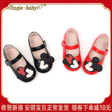 童鞋软bw女童公主鞋k80春新宝宝皮鞋(小)童女宝宝牛皮豆豆鞋