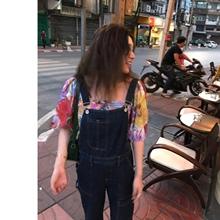 罗女士bw(小)老爹 复kj背带裤可爱女2020春夏深蓝色牛仔连体长裤