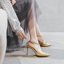 包头凉bw女仙女风细co2021新式(小)ck尖头时装一字扣带高跟女鞋