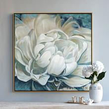 纯手绘bw画牡丹花卉wa现代轻奢法式风格玄关餐厅壁画