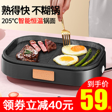奥然插bx牛排煎锅专lj石平底锅不粘煎迷你(小)电煎蛋烤肉神器