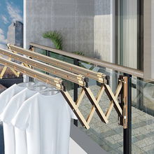红杏8bx3阳台折叠px户外伸缩晒衣架家用推拉式窗外室外凉衣杆