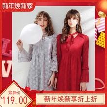 纯色新款刊菲bx3描述其它soV领系带气质淑女蕾丝连衣裙63178