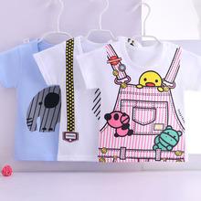 婴儿短bxT恤纯棉夏bw童上衣1彩棉2夏装衣服0-3岁男女宝宝半袖
